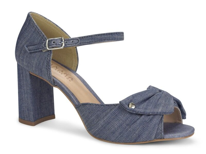 Denim Bow Block Heel Sandal I Women's Shoes