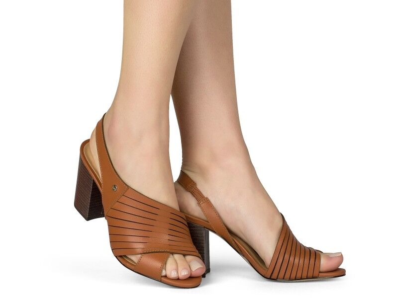 Brown Leather Open Toe Sling Back Sandal | Women's Shoes