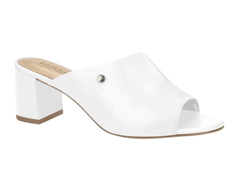White Open Toe Mule Sandals I Women's Shoes