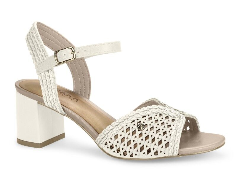 White Medium Block Heel Sandals I Women's Shoes