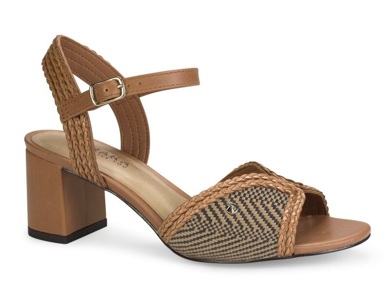 Tan Braided Medium Block Heel Sandals I Women's Shoes