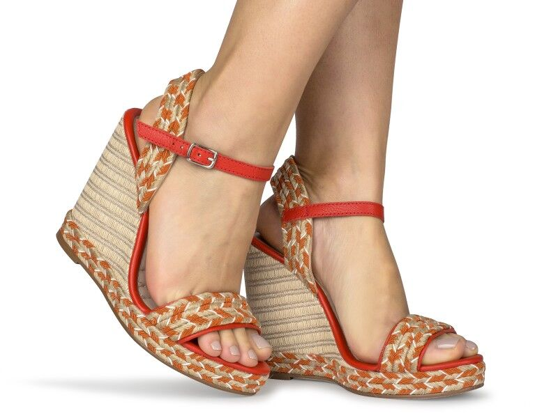 High Orange Woven Wedge | Women's High Heel Shoes