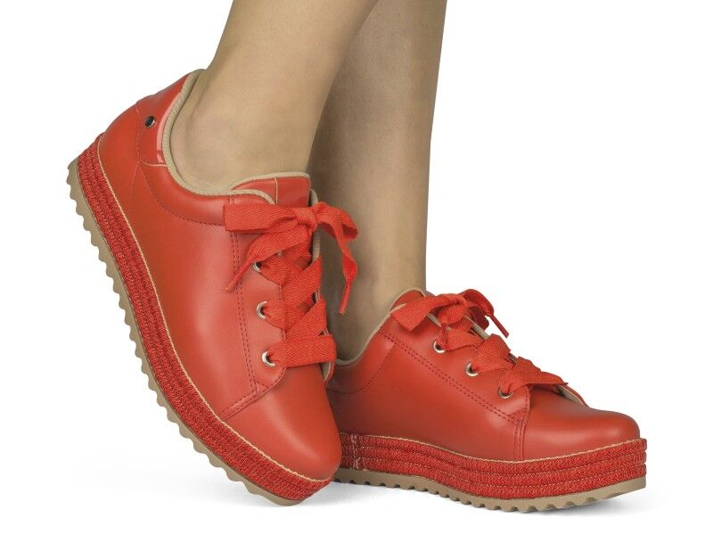 Red Leather Sneaker I Women's Sneaker