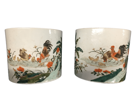 China Decorative Pair Of Vibrantly Colored 19th Century Hand-Enameled Porcelain Chinese Export Cachepot