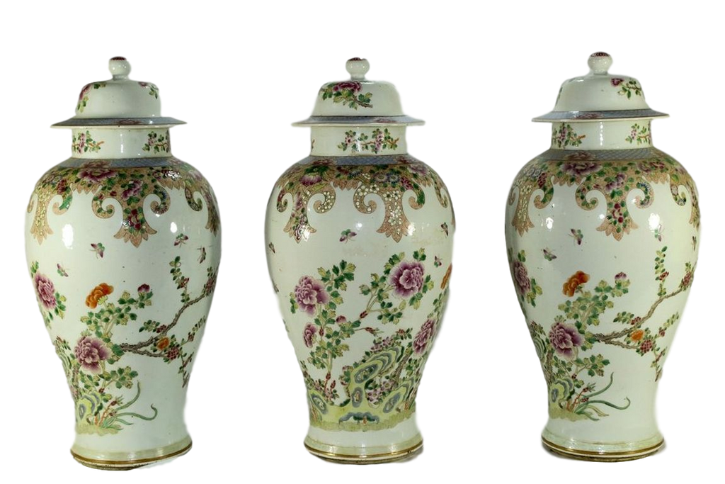18th Century Chinese Export Five Piece Famille Rose Porcelain