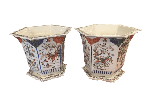 China Vases Pair Of 19th Century Hexagonal Enameled Porcelain Chinese Export Planters With Underplates