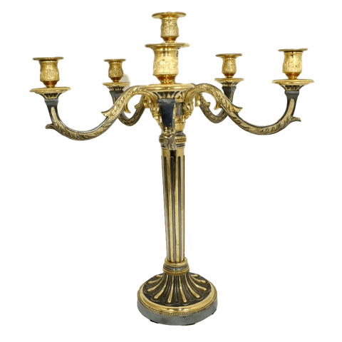 France Candelabra Pair Of Steel and Gold Dore Candelabra