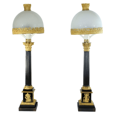 France Lamps Bronze and Gold Dore Sinumbra Lamps, Pair