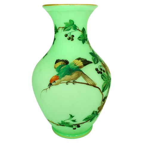 France Vases Green Porcelain Opaline Vases, Pair