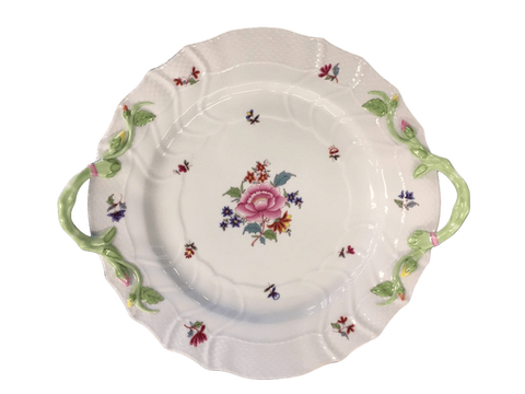 "Herend China Herend ""Nanking Bouquet"" Chop Plate With Branch Handles"