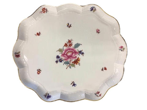 "Herend China Herend ""Nanking Bouquet"" Large Scalloped Tray"