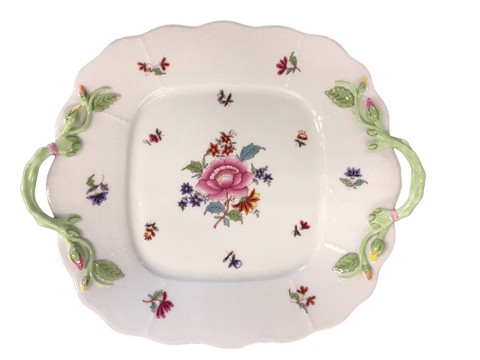 "Herend China Herend ""Nanking Bouquet"" Square Cake Plate With Branch Handles"