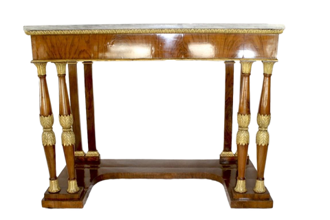 Italy Furniture Late 18th Century Italian Neoclassical Polished Birchwood Pier Table With Grigio Orobico Marble Top