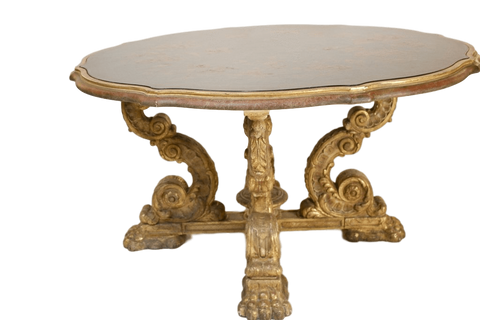 Italy Tables Italian Grotto Style Exhibition Table With Polychrome Leather Top On Giltwood Base
