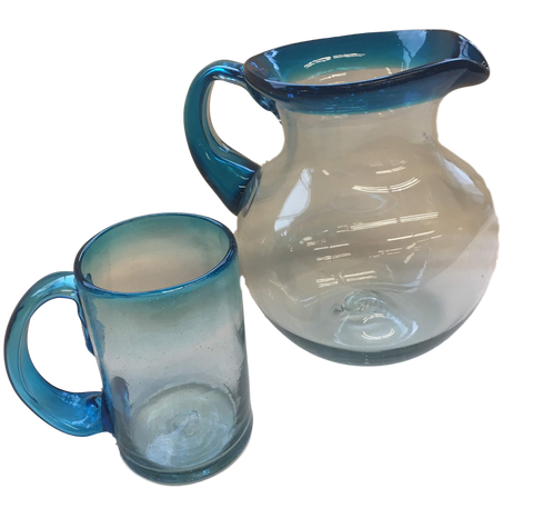 Mexico Serveware Set Of Artisan Crafted Aqua Blue-To-Clear Mouth-Blown Recycled Glass Beer Mug With Pitcher