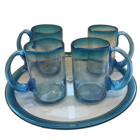 Mexico Serveware Set of Artisan Crafted Aqua Blue-To-Clear Mouth-Blown Recycled Glass Beer Mugs and Platter