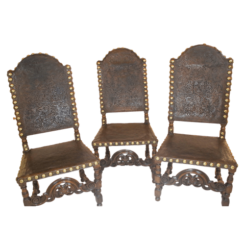 Portuguese Chairs Portuguese Leather Upholstery Chairs, Three