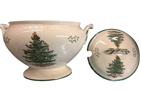 "Spode China Spode ""Christmas Tree (Green Trim)"" Large Footed Tureen"