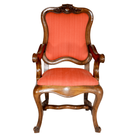 The Antique Shop Chairs Wooden Chairs with Coral Fabric, Pair