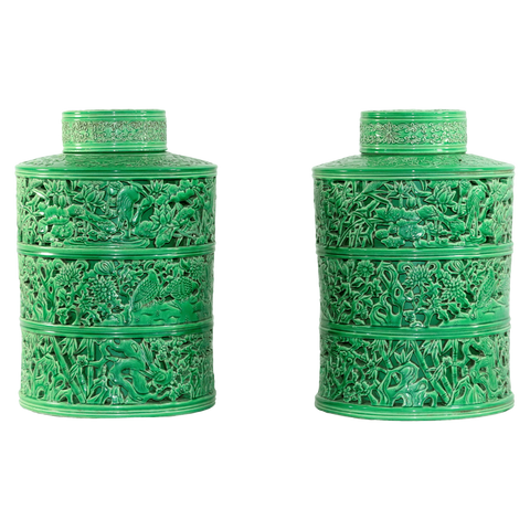 The Antique Shop Jars Green Porcelian Storage Jars, Pair