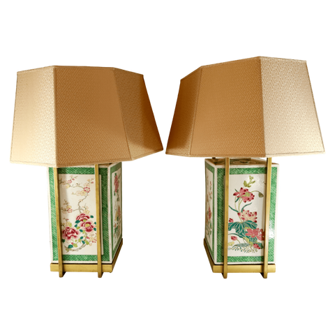 The Antique Shop Lamps Green Bordered Storage Jars, Pair