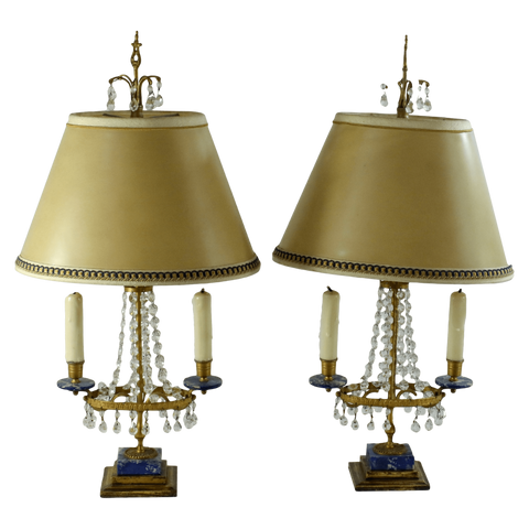 The Antique Shop Lamps Lapis Crystal Lamps, Pair