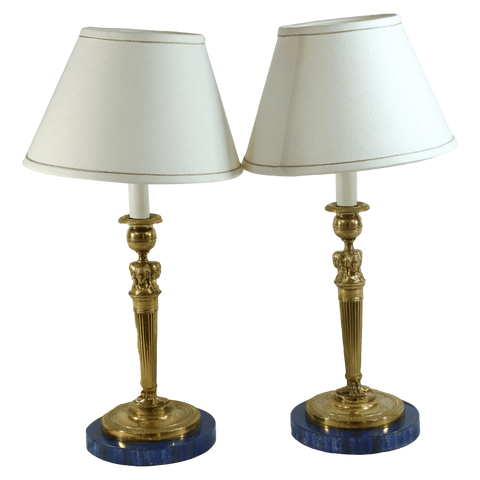 The Antique Shop Lamps Lapis Lazuli Lamps, Pair