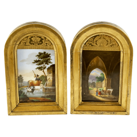 The Antique Shop Paintings Small Gilded Paintings, Pair