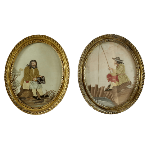 The Antique Shop Paintings Small Oval Gilded Paintings, Pair