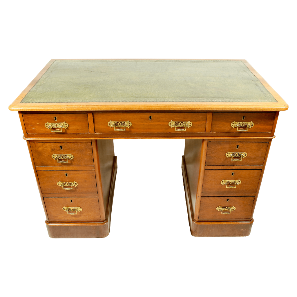The Antique Shop Table Green Leather Top Desk ... - Oak 9-Drawer Petite Desk With Burnished And Gilt Embossed Green