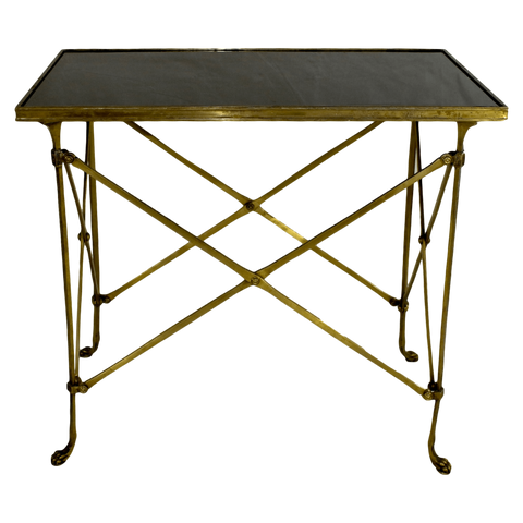The Antique Shop Tables Brass Table with Black Marble Top