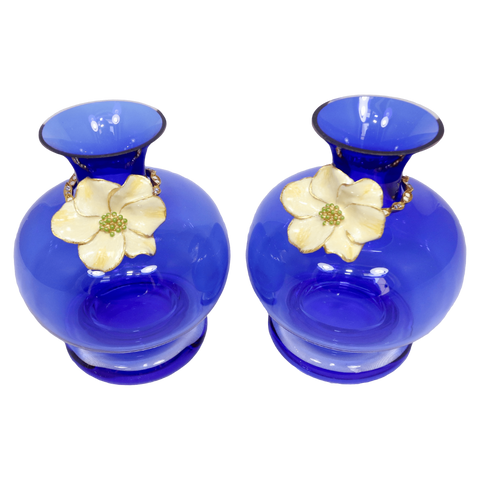 The Antique Shop Vases Blue Glass Vases with Flower Ring, Pair