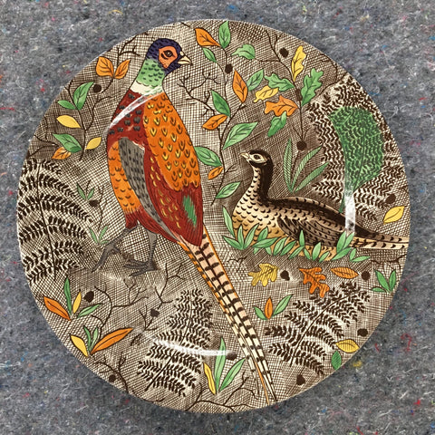 Unknown Origin China Ceramic Autumnal Pheasant Charger Plate Or Serving Platter
