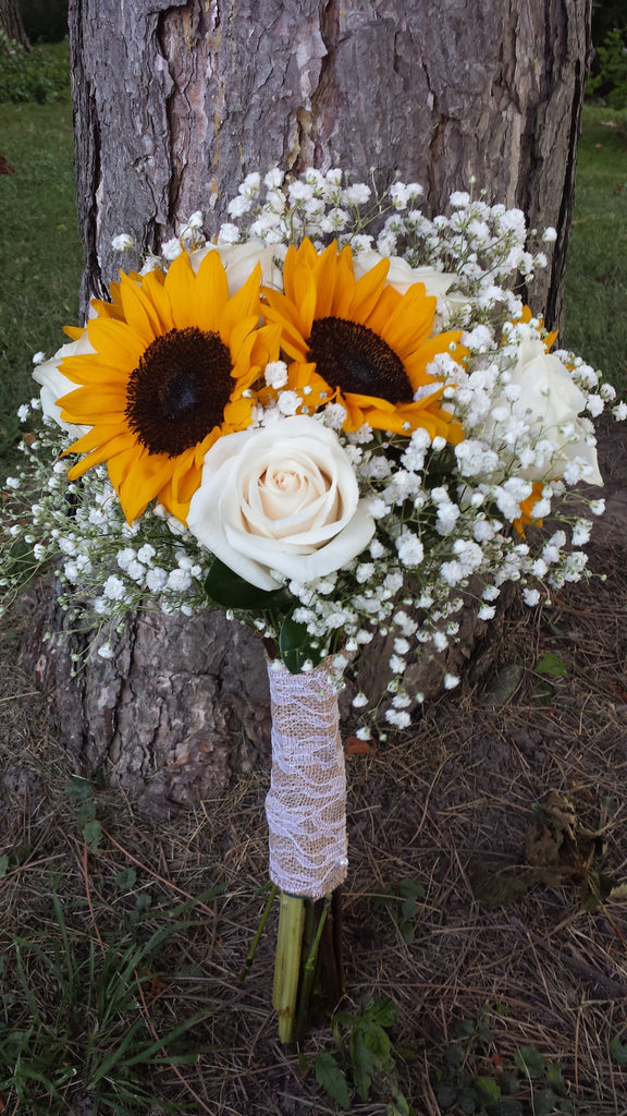 Bridal Sunflower Bouquet With White Roses And Babys Breath