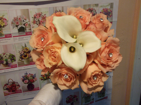 Calla lily and peach roses bride bouquet