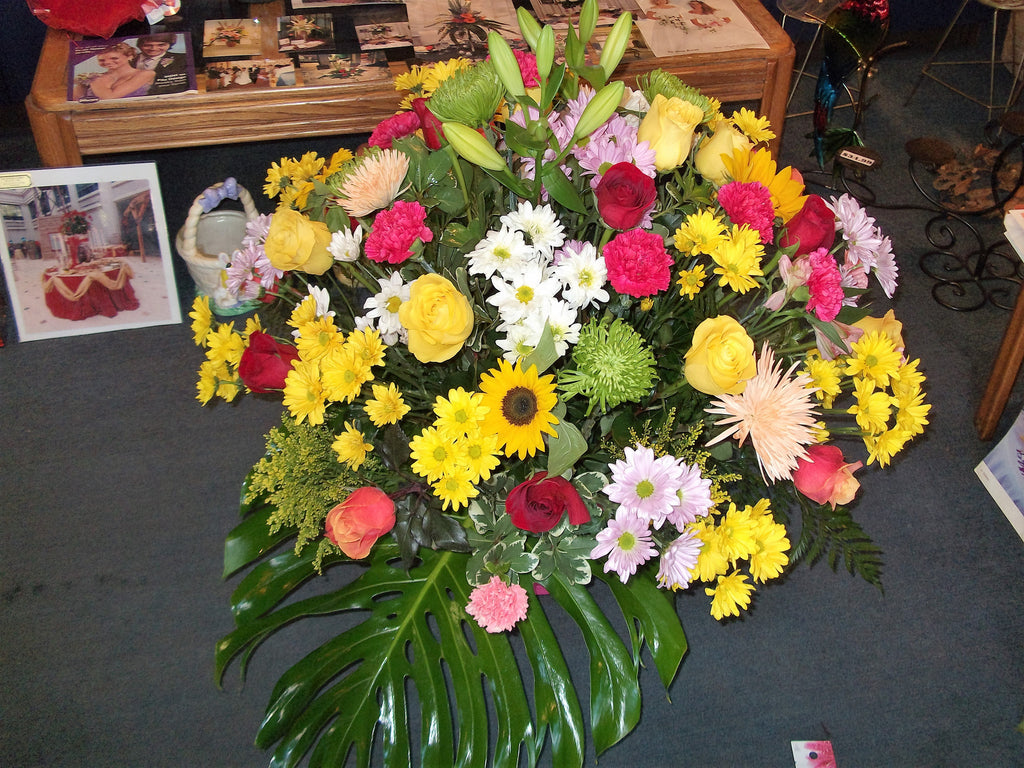 assorted flowers funeral piece