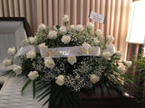 Half Casket Spray with White Roses