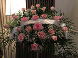 Flanking Arrangement with Pink Roses