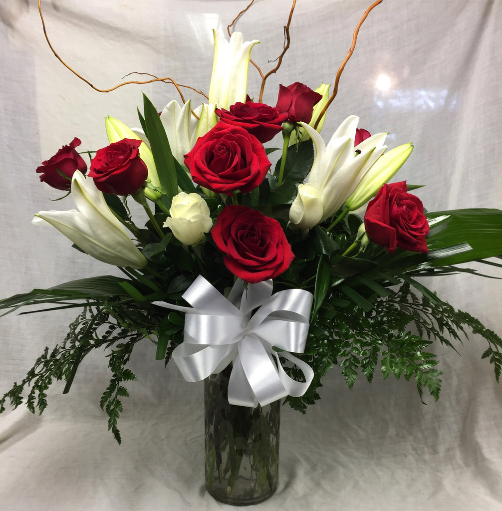 premium red roses and white stargazer lilies