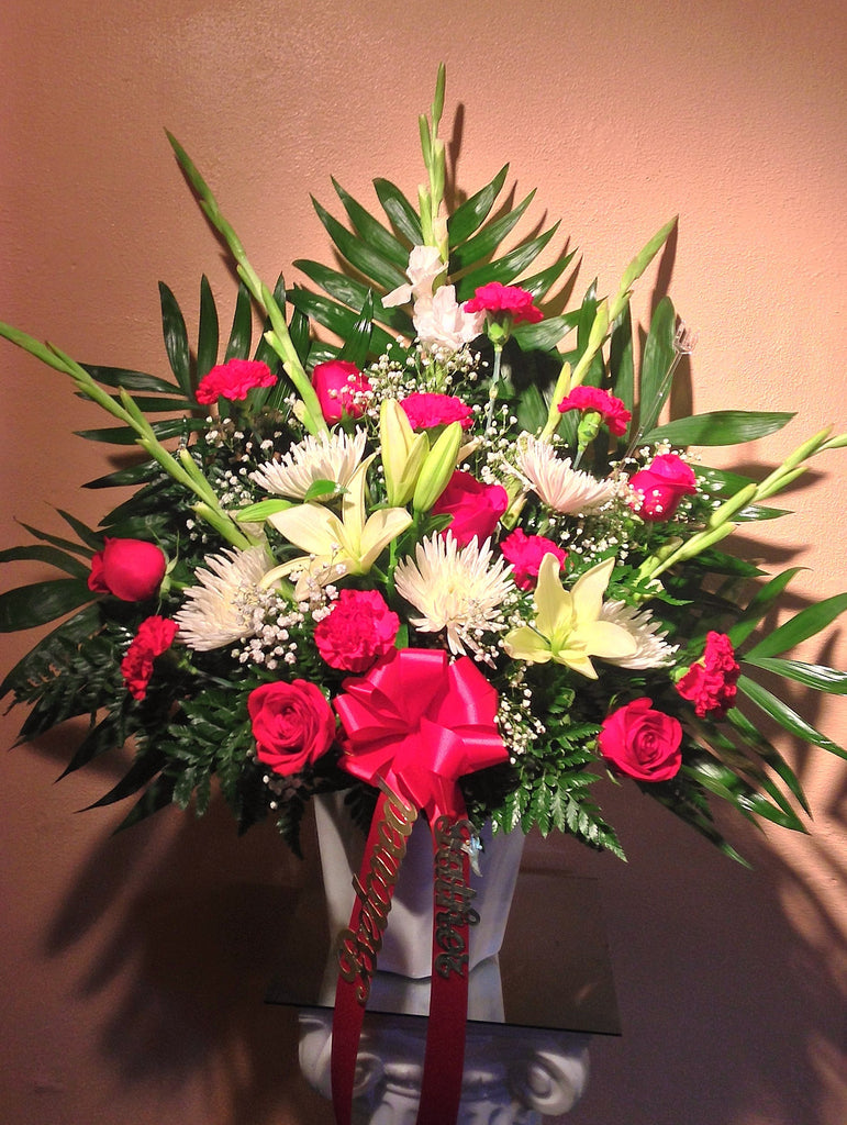 Red and White with Lillies & Gladiola Sympathy Piece