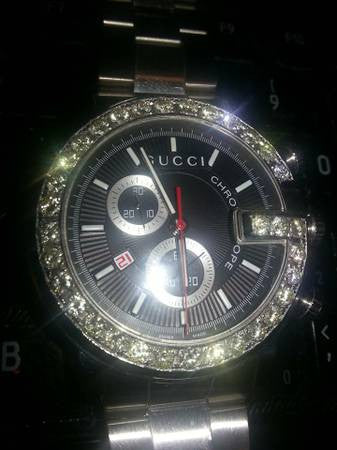Swiss Diamond and Stainless Steel Chronograph Quartz Wristwatch, '101G' Series made for Gucci & Co. Jewelers, post 2000
