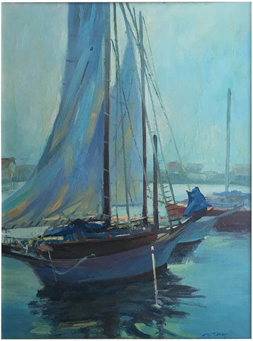 Barry Thomas (American, b. 1961), Sails at Rest, oil on canvas, signed