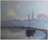 Jacques Huet (French, b. 1937), Port de Rouen, oil on canvas, signed