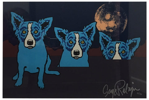 "George Rodrigue (American, 1944-2013), ""The Blues are Pulling me Down with the Moon"", 1992, screenprint in colors, signed, ed. 90"
