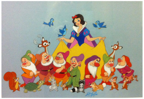 Bill Justice (American, 1914-2011), Snow White and the Seven Dwarfs, watercolor and pencil on paper, signed