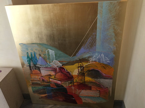 "Calman Shemi (Israeli, b. 1939), ""The Holy Jerusalem"", mixed media on metal, signed"