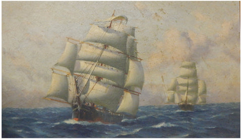 Thomas G. Purvis (British, 1861-1933), Thermopole and Cutty Sark in the Trades, ca. 1927, oil on board, signed