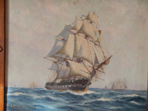 Thomas G. Purvis (British, 1861-1933), Old Ironsides, 1929, oil on canvas, signed