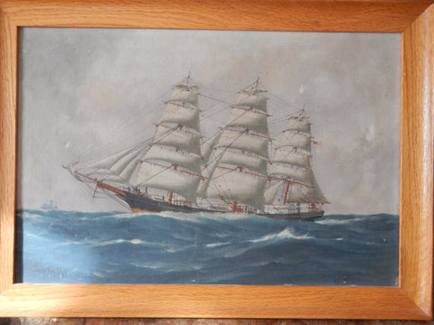 Thomas G. Purvis (British, 1861-1933), The Clipper Ship: Young America, ca. 1926, oil on canvas, signed