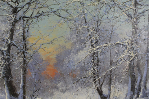 "Laszlo Neogrady (Hungarian, 1986-1962), ""Wintery Forest"", oil on canvas, signed"